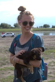 PCT Valerie with the puppy we found at the river
