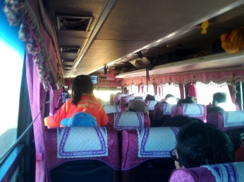 View from back of the charter bus to UB from Arvaikheer