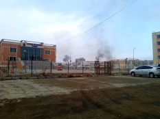 Smoke from medical waste incinerator