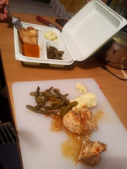 Pickle-marinated paprika chicken with mashed potatoes and green beans