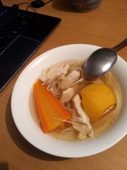 Hungarian chicken soup (made with beef bouillon cubes)