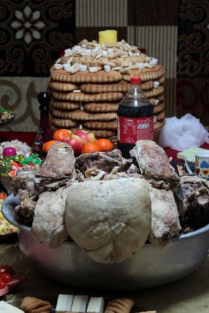 Sheep's bum and pastry/candy tower for Tsagaan Sar