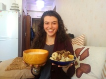 Posing with some airag (fermented mare's milk) and buuz with meat