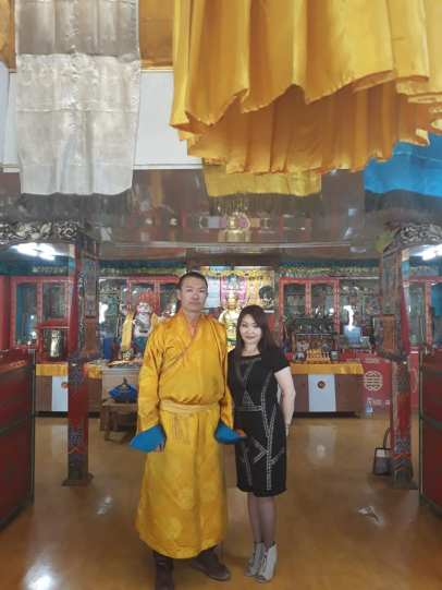 Byamba and Baagii at his monastery